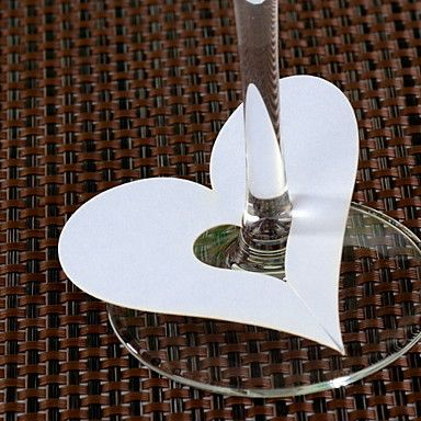 Place Cards and Holders Heart Shaped Place Cards for Wine Glass - Set of 12 – USD $ 3.99