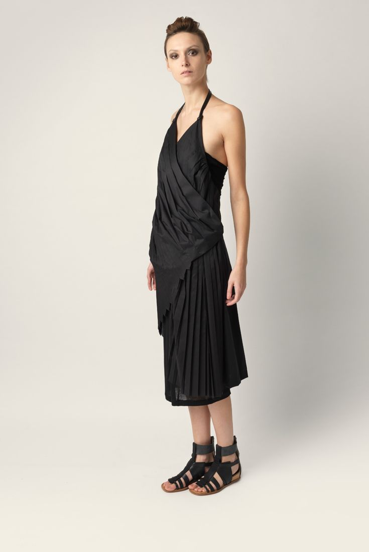 Halter neck dress Malloni in pleated stretch poplin cotton.