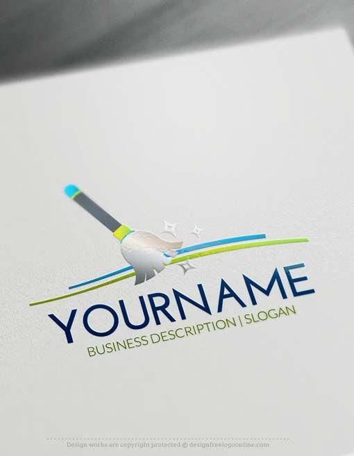 Free Logo Creator Broom Cleaning Logo Design