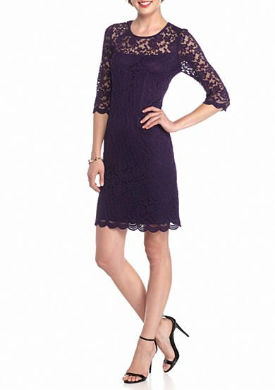 Connected Apparel Allover Lace Sheath Dress