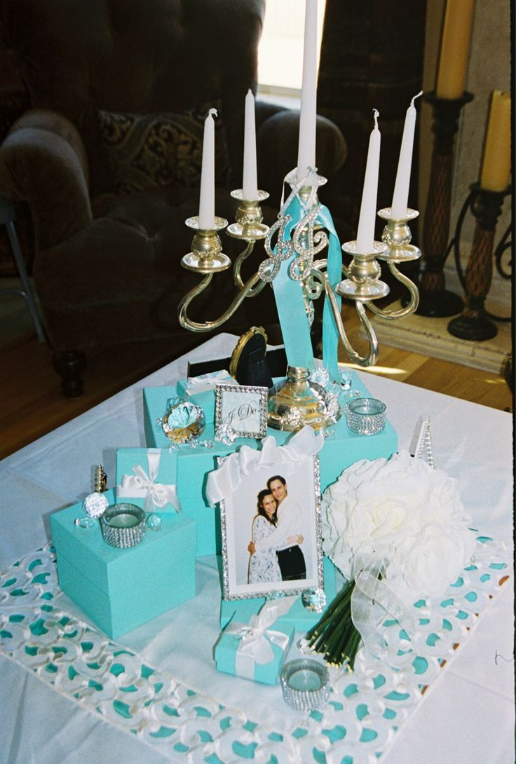 fun ideas for bridal shower themes%0A Tiffany u    s Themed Bridal Shower  Table Display