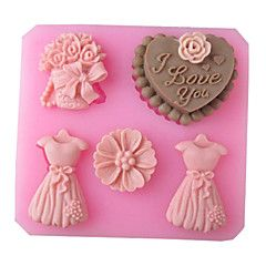 casamento amo vestido fermento bolo fondant molde choclate cheio de doces, l8.3cm * w7.7cm * h1.8cm