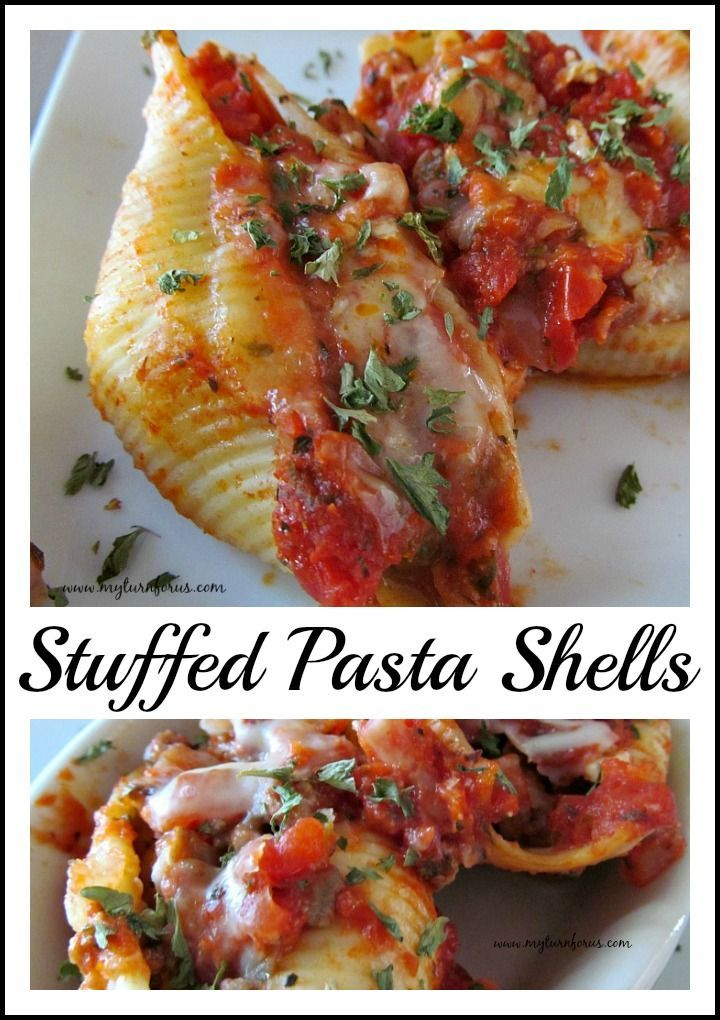 Stuffed Pasta Shells are filled with a blend of  ground beef and sausage, mozzarella cheese, Italian herbs and baked until bubbly.     http://www.myturnforus.com/2015/12/stuffed-pasta-shells.html
