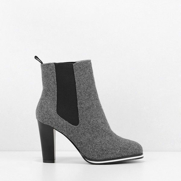 CHARLES & KEITH Chelsea Boot Heels (865 SEK) ❤ liked on Polyvore featuring shoes, boots, grey, grey chelsea boots, charles keith shoes, chelsea boots, gray shoes and beatle boots