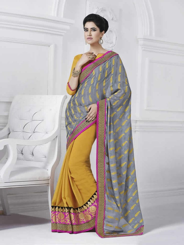 buy saree online Grey Colour Fancy Jacquard & Georgette Embroidered Party Wear Saree Buy Saree online - Buy Sarees online
