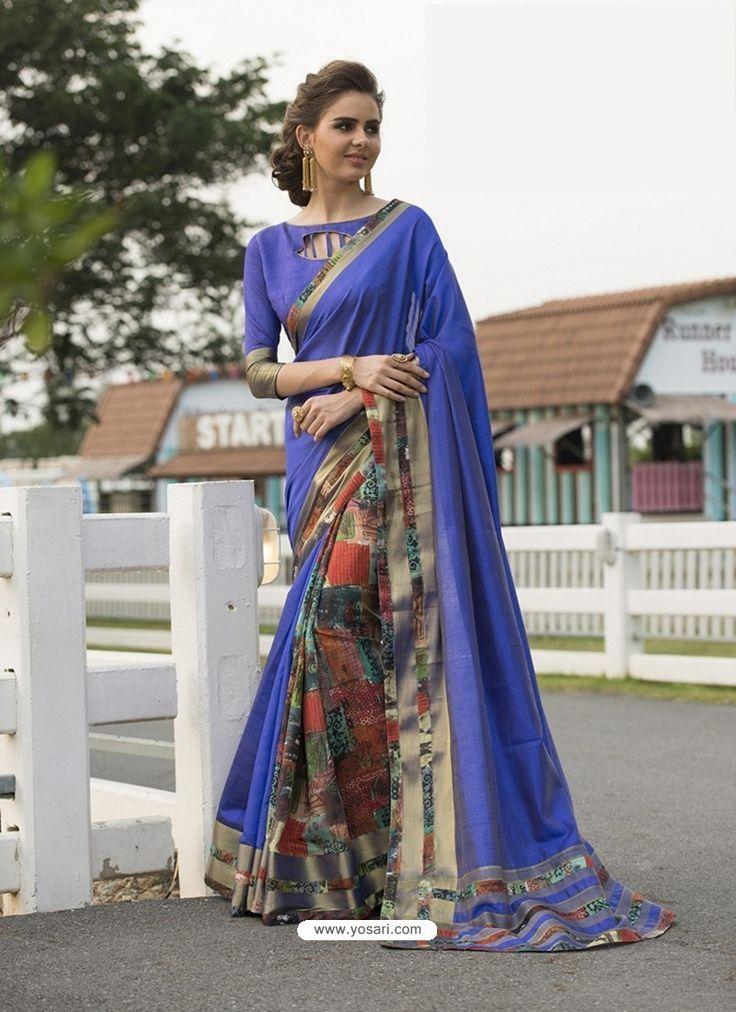 Blue Art Silk Printed Party Wear Saree