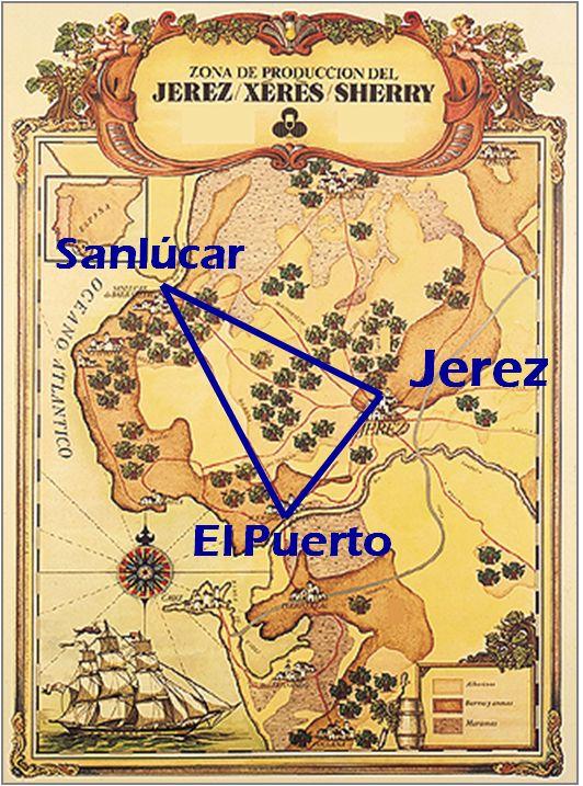 Map of the Sherry Triangle: Jerez, El Puerto de Santa Maria and Sanlucar de Barrameda via http://discoversherry.com/2013/12/14/about-sherry-2-the-magic-sherry-triangle-english/