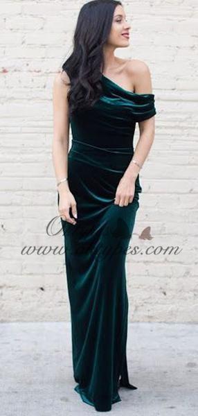 963bcd8d087 Charming One Shoulder Long Sheath Emerald Green Velvet Prom Dresses ...