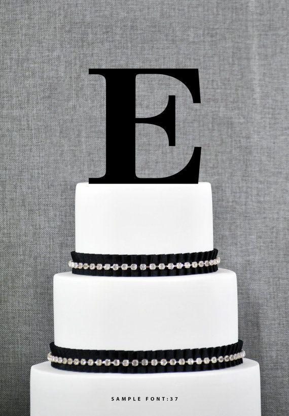 Personalized Monogram Initial Wedding Cake Toppers -Letter E, Custom Monogram Cake Toppers, Unique Cake Toppers, Traditional Initial Toppers