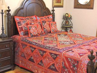 Red Decorative Kunan Sari Bedding - Artisan Handmade Duvet Pillow Shams ~ King