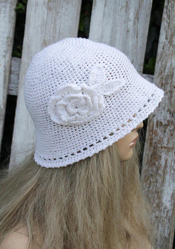 White Crochet Summer Hat Hand made Hat Cotton Floppy Hat flower Rose Spring Summer Garden Hat Women Sun Hat Hand made Brimmed Sun