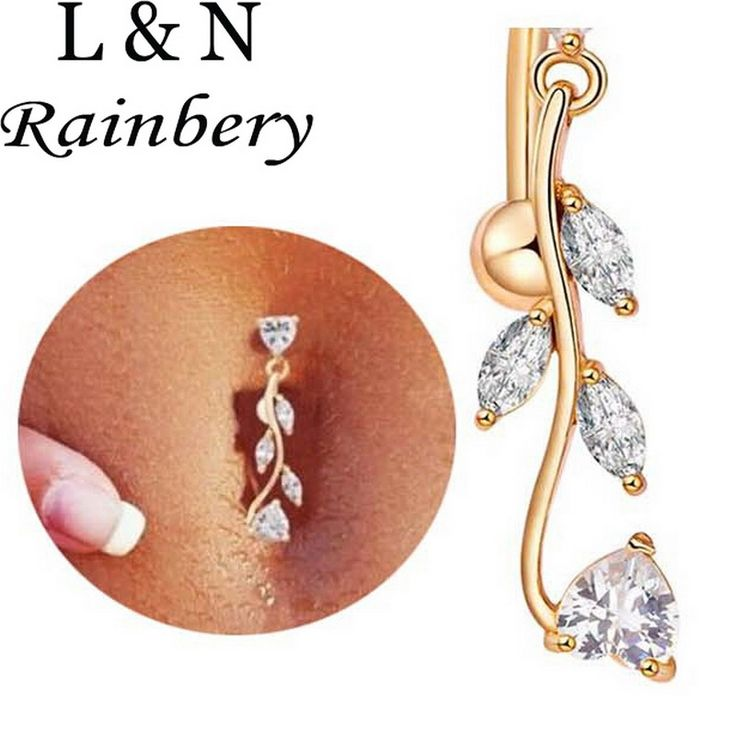 Rainbery Long Section Surgical Steel Navel Piercing Women Sexy Crystal Body Jewelry CZ Dangle Belly Button Rings Body Jewelry