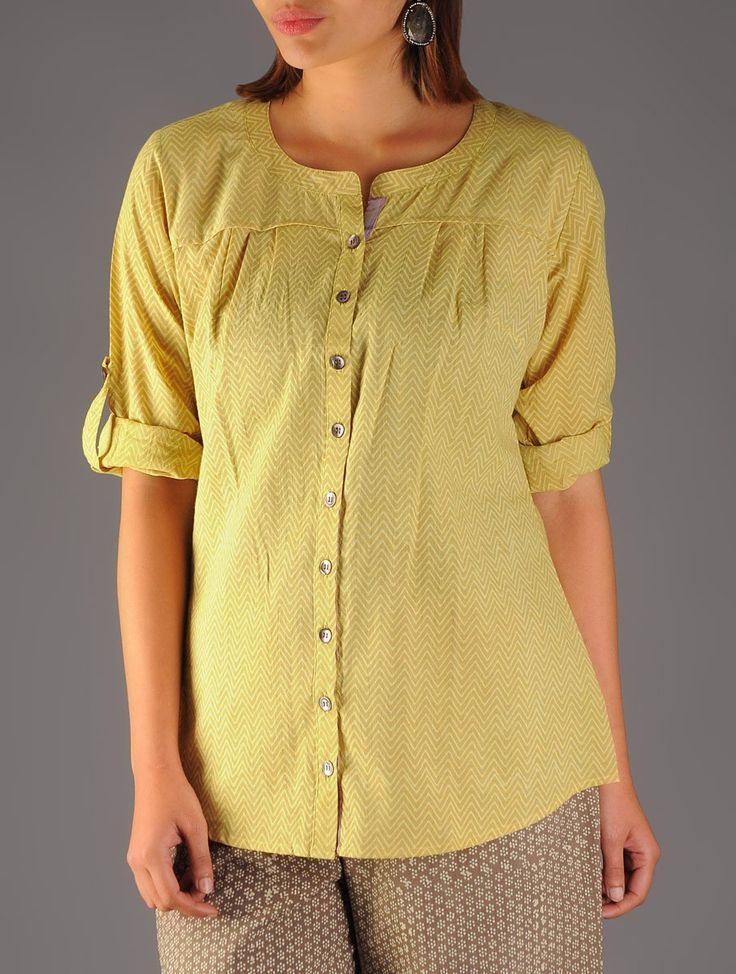 Buy Mustard Beige Printed Zigzag Top Cotton Apparel Tops & Dresses The Heart of Matter Colorful Online at Jaypore.com