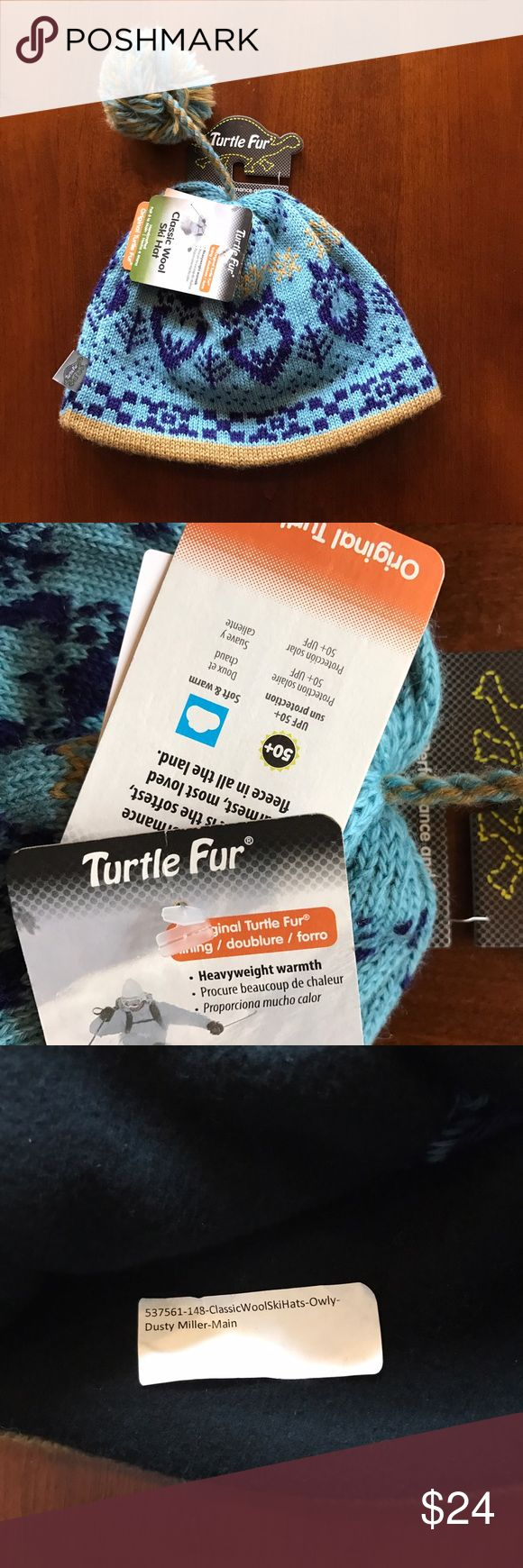 Turtle fur women's ski hat owly print Pom Pom New with tags. Very warm hat for skiing or just cold weather.  Extremely cute print with Pom Pom. Traditional wool. turtle fur Accessories Hats