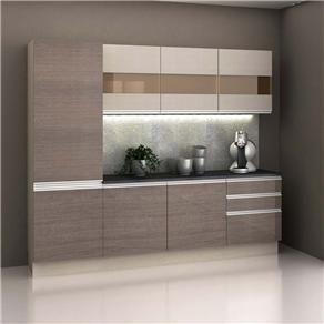 Cozinha Compacta Madesa Top (5 Peças) com 7 Portas e 3 Gavetas - Tirol/Amêndoa/BP Bronze