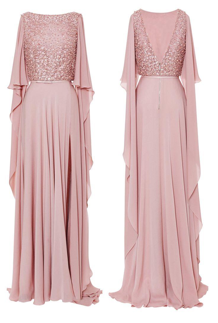 Sexy Long Blush Split Front Chiffon Backless Half Sleeves Prom/Evening Dress, Luxurious Prom Dress, Blush Prom Dress, Long Prom Dress