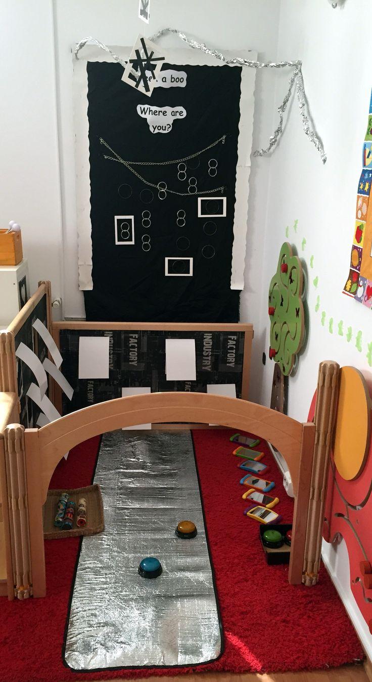 Light/Dark corner for 1-3 years old, investigating lights, mirror, reflections@ AcornsNursery
