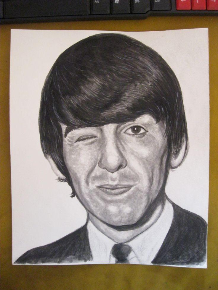 The Beatles : George Harrison watercolor portrait