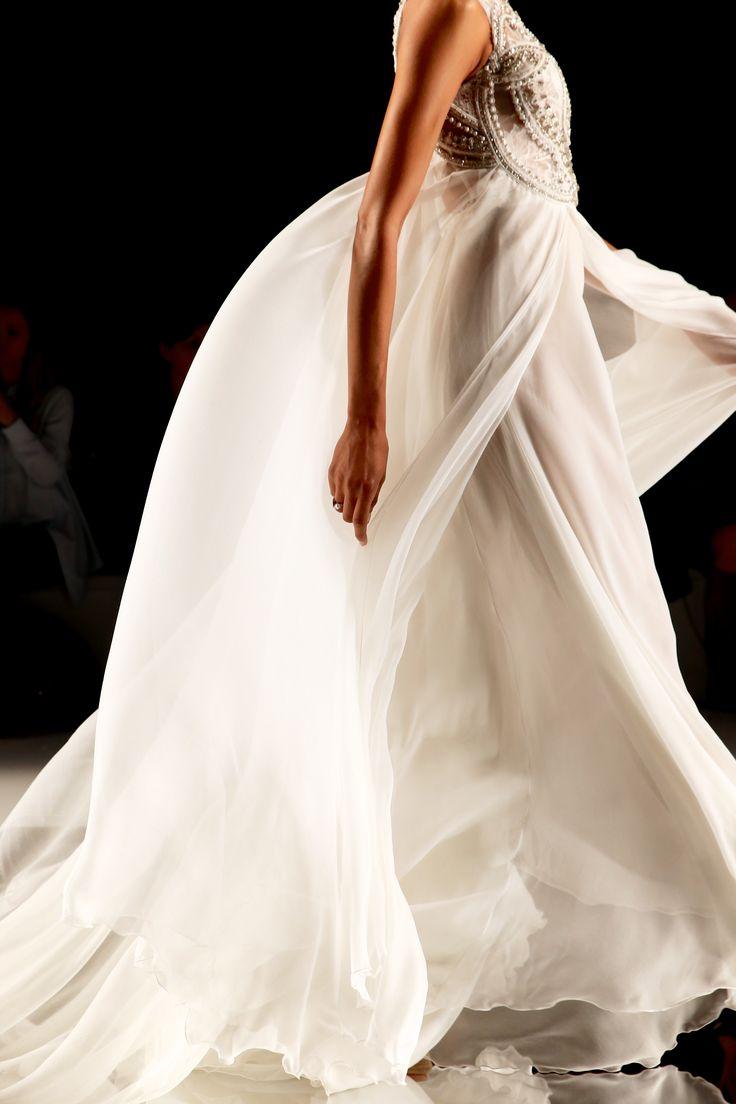 YolanCris 1960s-inspired boho wedding dress with sheer + flowing fabric // Barcelona Bridal Fashion Week