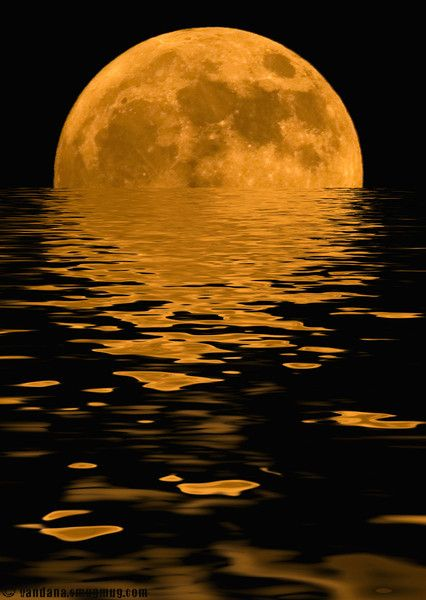Moon rising out of ocean