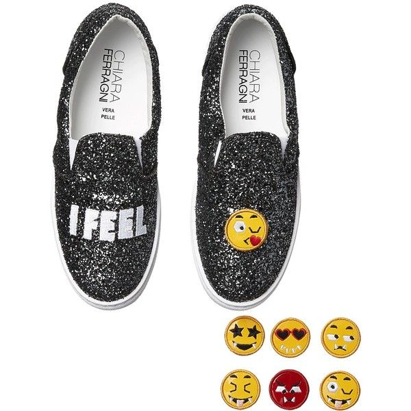 Chiara Ferragni Sparkle Emoji Slip-On Sneaker (Charcoal) Women's Slip... ($172) ❤ liked on Polyvore featuring shoes, sneakers, grey, slip-on sneakers, glitter sneakers, grey sneakers, patent leather sneakers and sparkly shoes