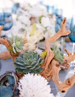 A Reference Guide To Help You Find Or Make Beach Wedding Centerpieces Suit Driftwood