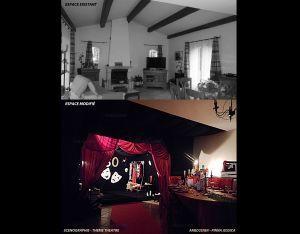 Design d'espace - Scénographie thème théâtre - Transformation d'une pièce à vivre en salle de théatre - Jessica Pinna - Antibes 06