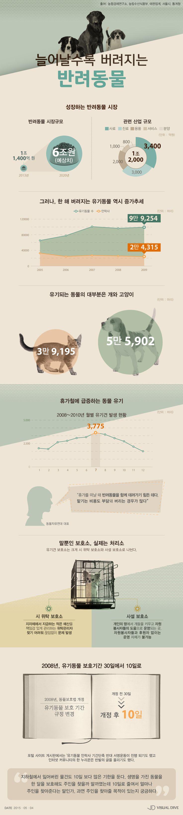 '버리기 위해 키운다?' 성장 중인 국내 반려동물 시장의 뒷면 [인포그래픽] #companion animal  / #Infographic ⓒ 비주얼다이브 무단 복사·전재·재배포 금지