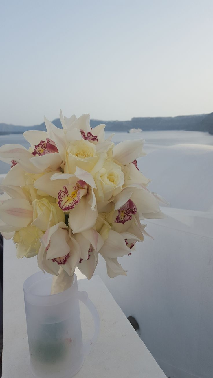 Santorini wedding, bridal bouquet with orchids