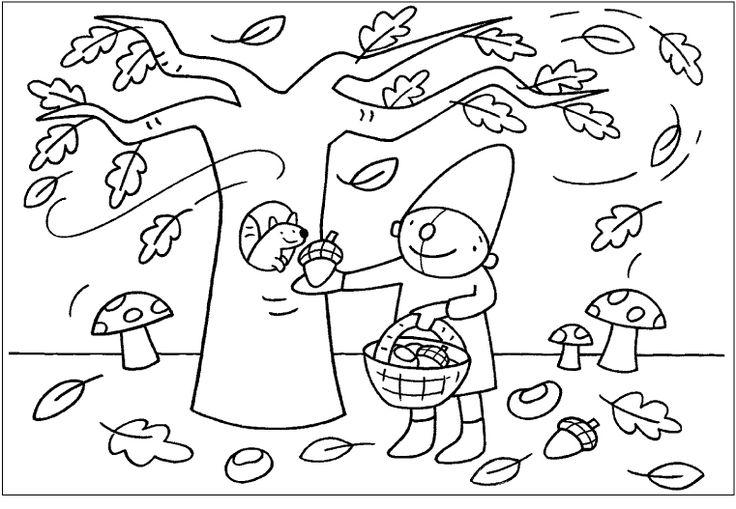 Kleurplaat Pompom herfst