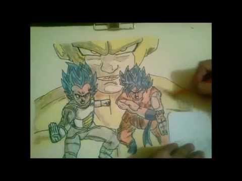 Dibujando A golden freezer vs goku ssjss y vegeta ssjss