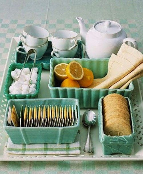 For a TEA TIME get together:.... group all the implements together (not only by color, but also by purpose)Tea Time, Teas Time, Teas Trays, Vintage Planters, Afternoon Teas, Teas Service, Teas Sets, Teas Parties, Teatime