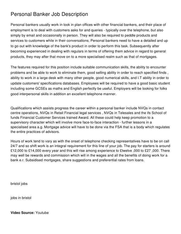 Personal banker job description for resume popular