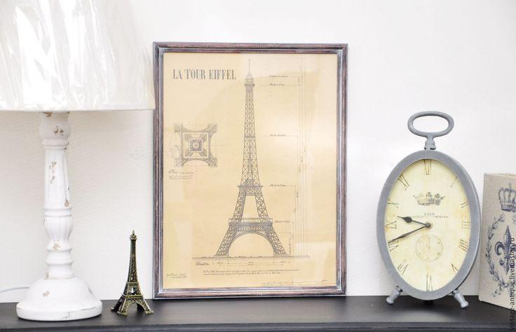 Купить Ретро постер Эфелева башня, картина в винтажном стиле - бежевый, постер на стену