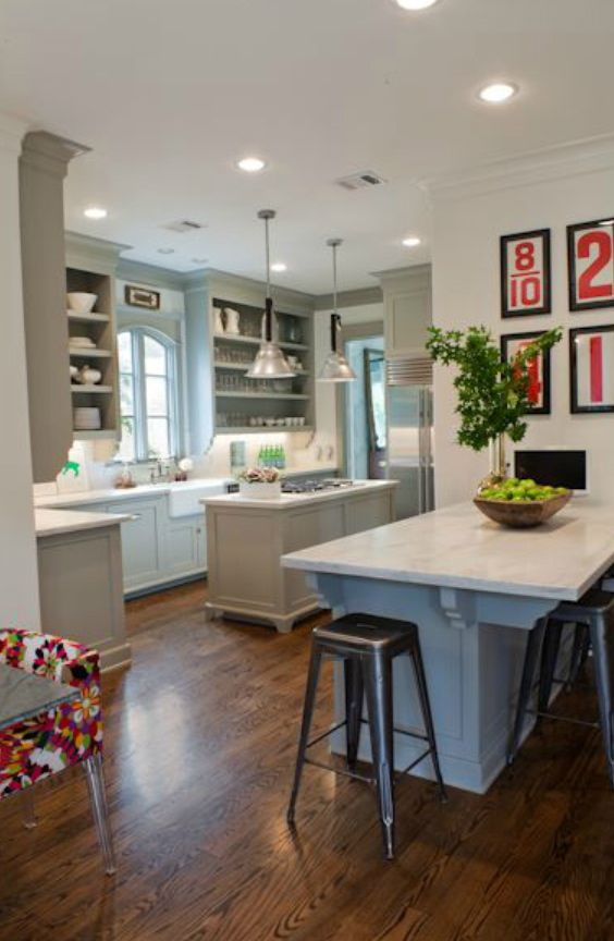 White, Gray And Red Kitchen