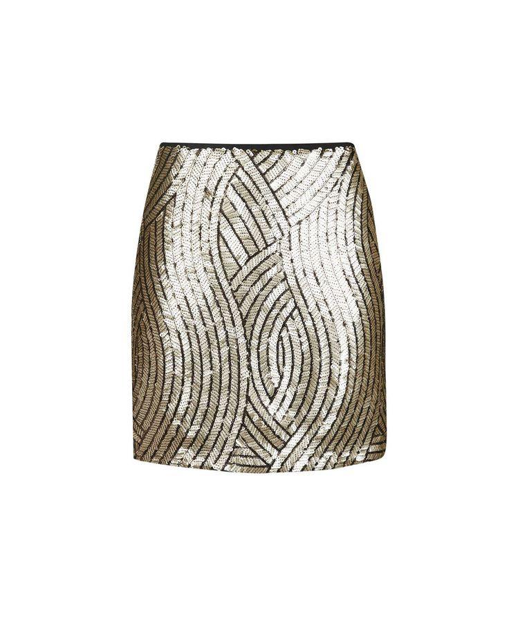 La minifalda con lentejuelas doradas