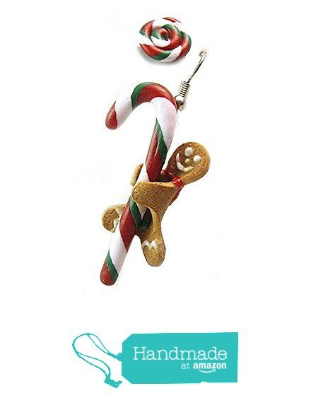 Candy Cane & Gingerbread man Earring ~ Christmas Earrings ~ Food Jewelry from HugsKissesMINI http://www.amazon.com/dp/B0168X1F10/ref=hnd_sw_r_pi_dp_itphwb1T65SD6 #handmadeatamazon