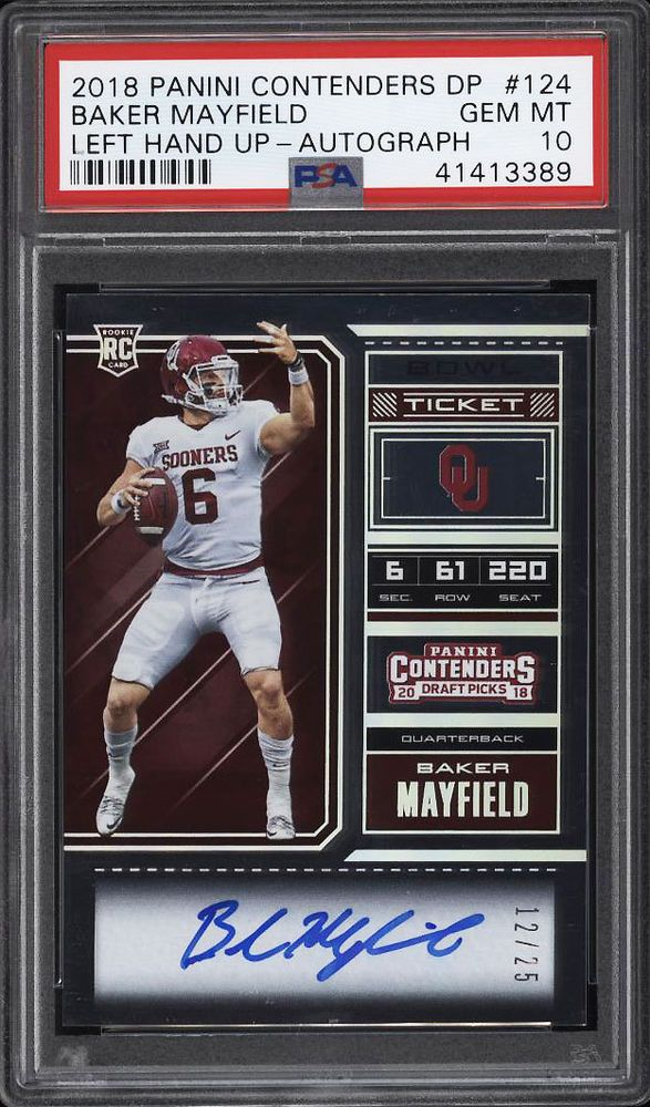 2a8e15114 2018 Panini Contenders Bowl Ticket Baker Mayfield ROOKIE AUTO  25 PSA 10  (PWCC)  PSA10  sportscards  collecting