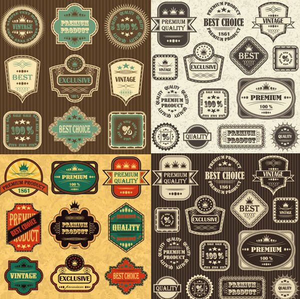 Retro-Label-Label-Vector