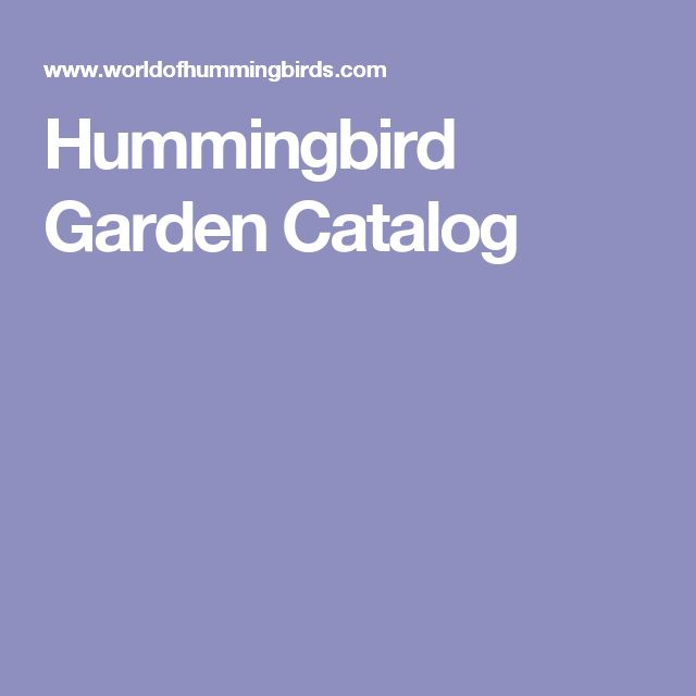 Hummingbird Garden Catalog