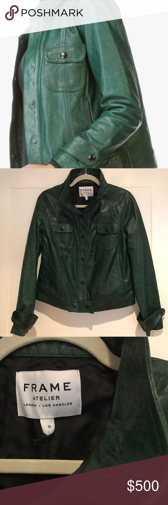 FRAME DENIM Spruce Green Lambskin Leather Jacket FRAME DENIM Spruce Green Lambskin Leather Jacket, size small. Black buttons, boxy shape. New with tags, never worn. Frame Denim Jackets & Coats