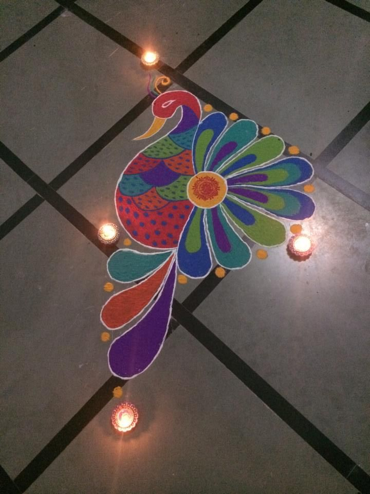 colourful peacock rangoli