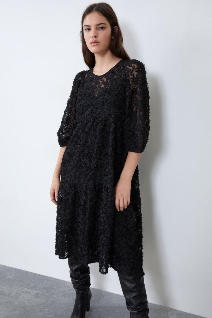 zara midi dress with voluminous sleeves