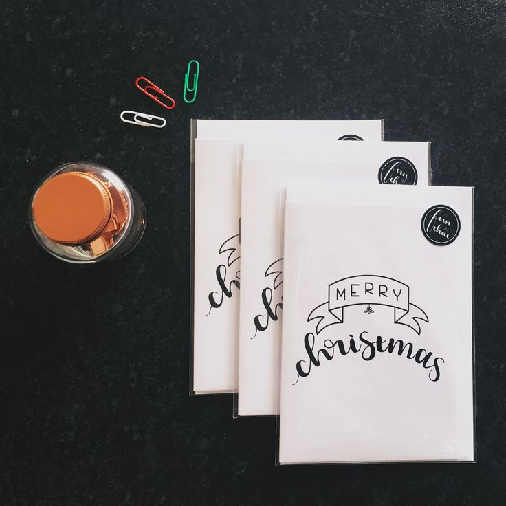 Merry Christmas brush lettered greeting card. 100% recycled A6 white 300gsm - in stock now!