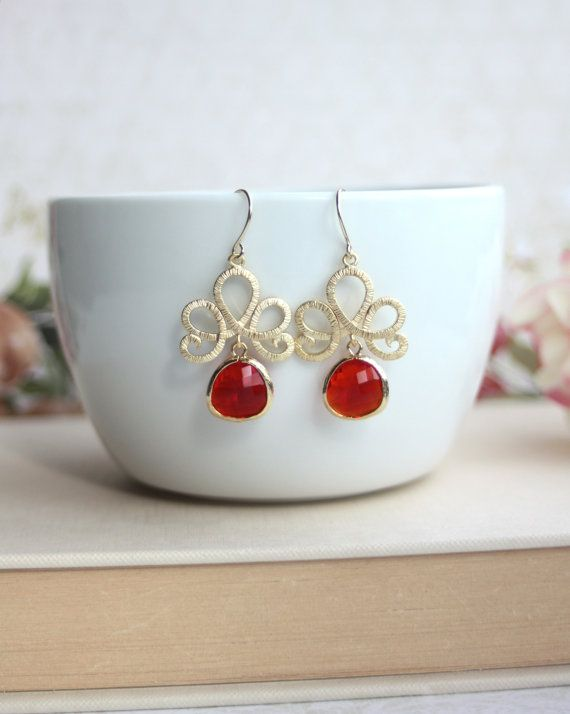 Ruby Red Earrings, Matte Gold Plated Filigree Red Glass Drops Dangle Earrings. Venetian Italian Inspired. Bridesmaid Gift. Red Gold Wedding