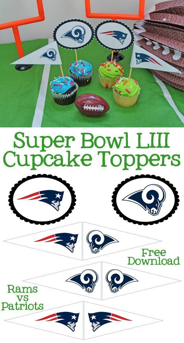 Superbowl New England Patriots LA Rams Cake Topper Round Icing