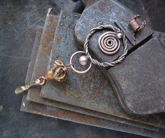 Copper Brass Carnelian and Wood Boho Rustic by MaryBulanova