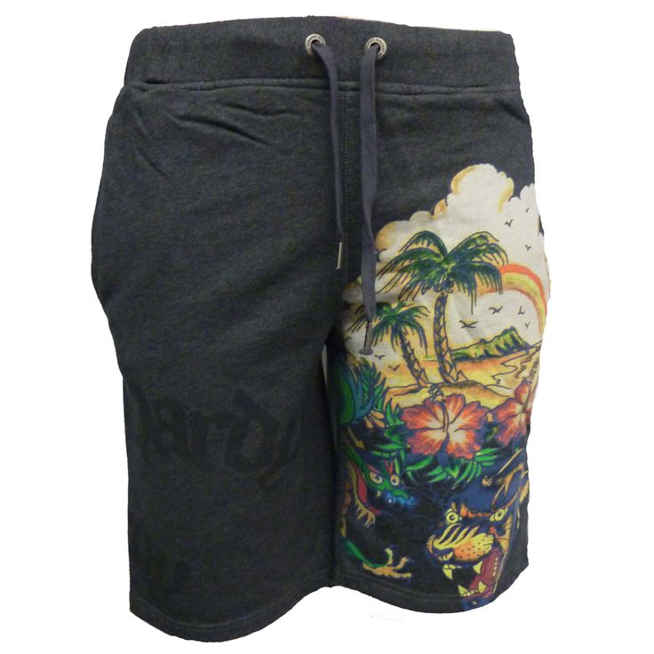 Ed Hardy Mens Aloha Beach Basic Shorts – Charcoal