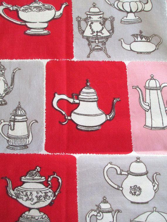 Vintage Tea Pots Kitchen Towel  1960's  Mid by AStringorTwo, $12.00