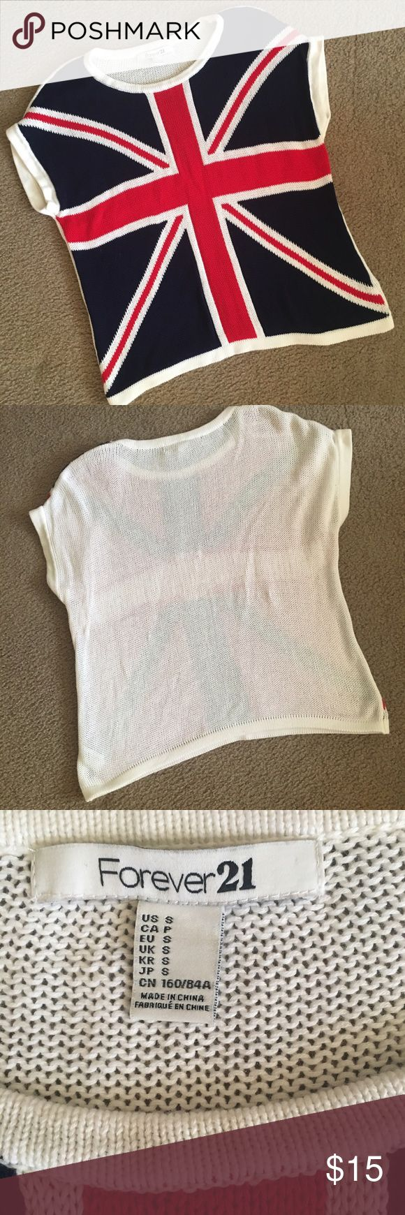 Forever 21 sweater Short sleeved light weight sweater with British flag on front and plain white back. Forever 21 Sweaters Crew & Scoop Necks